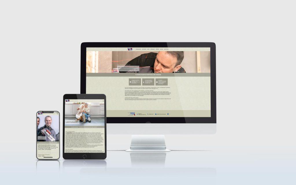 Mockup der Website der Firma Die Fliesenschmiede