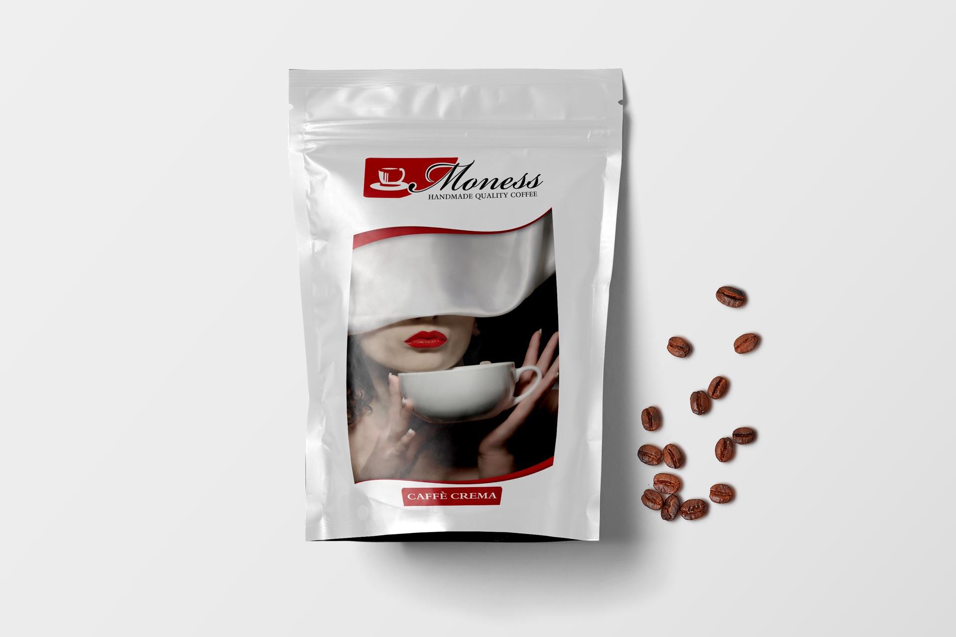 Kaffee-Tüte der Moness Kaffeerösterei