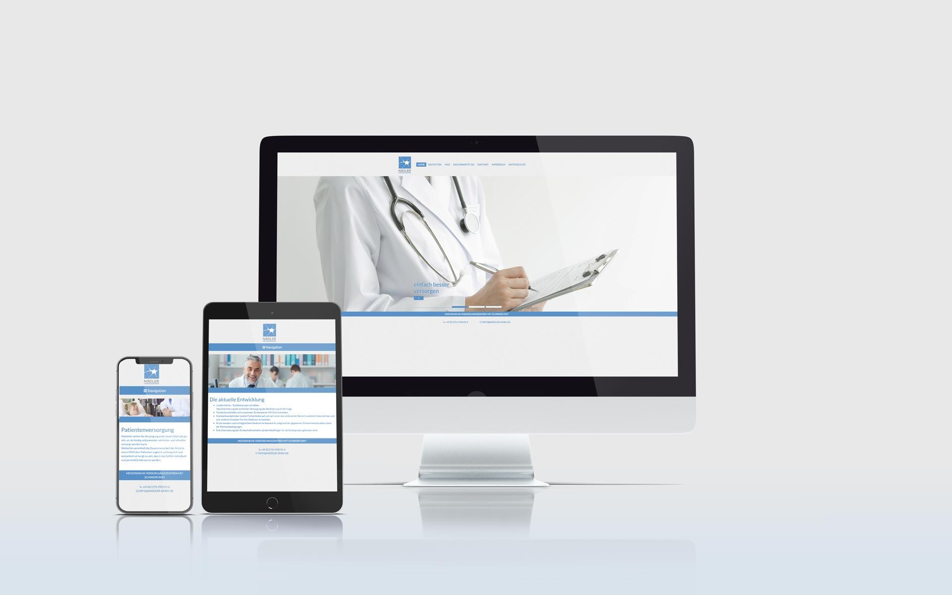 Mockup der Website der Firma Nädler GmbH