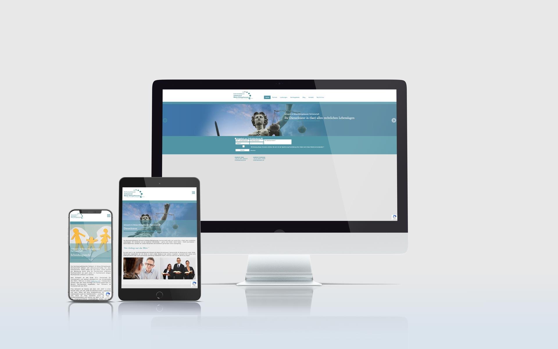 Mockup der Website der Anwaltskanzlei Schwerin & Weise Partnerschaft