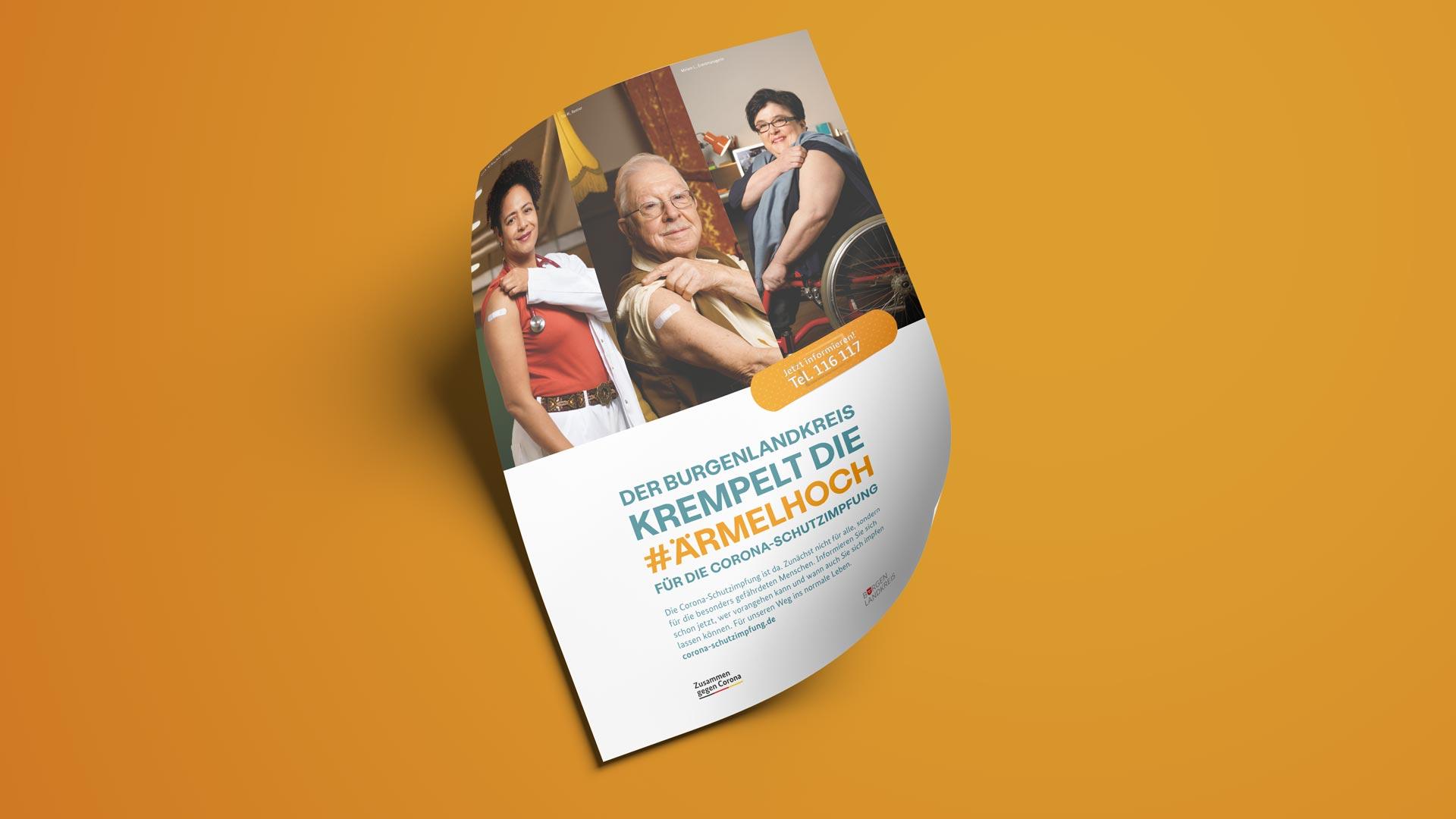 Plakat für die Coronavirus-Impfkampagne des Burgenlandkreises