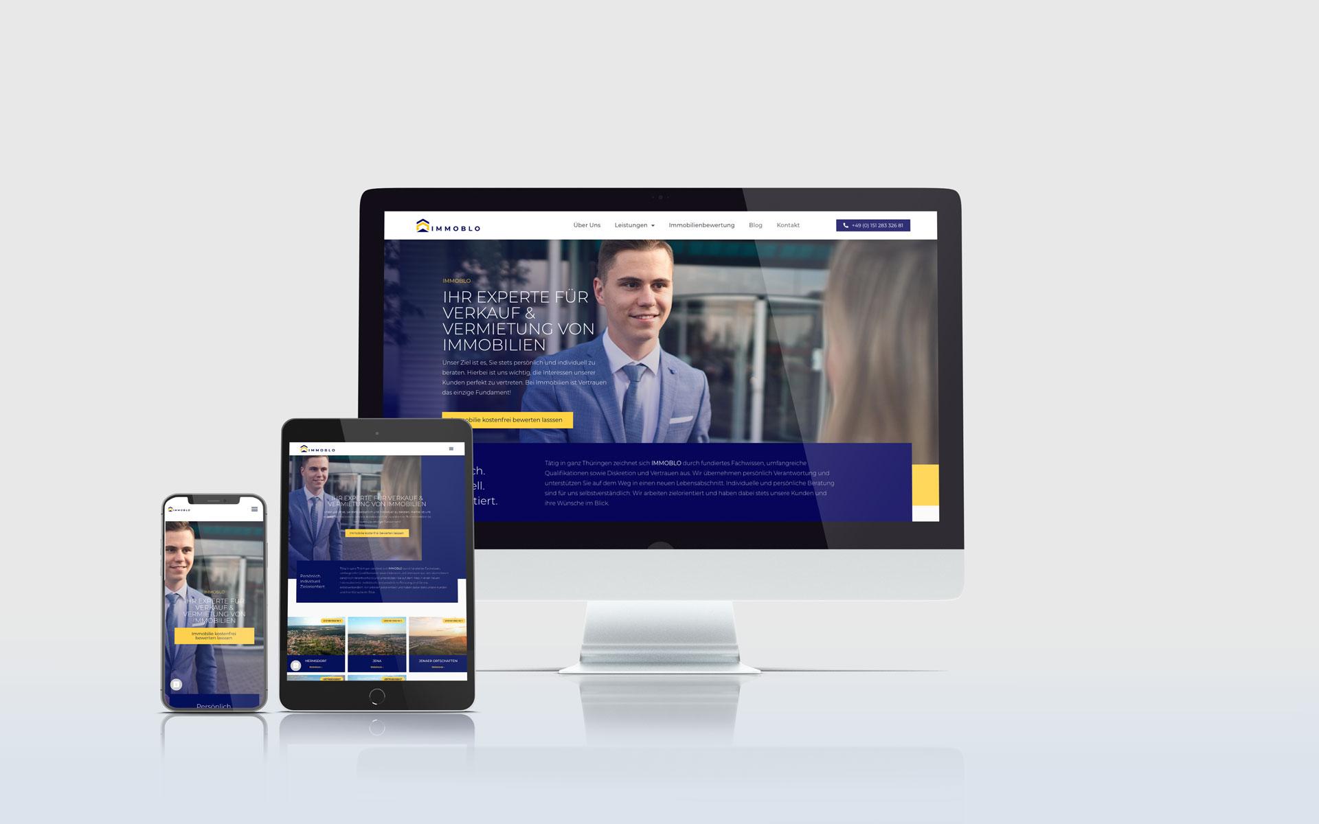 Website von Immoblo auf verschiedenen Endgeräten